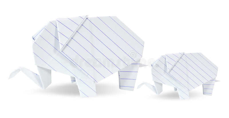 Two origami elephants white recycle paper