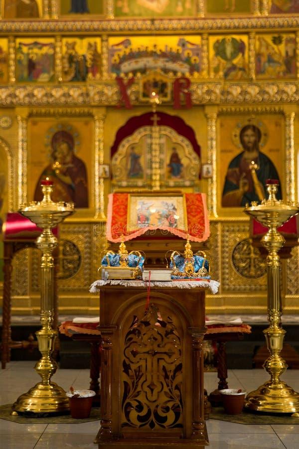 Orthodox Wedding Ceremonial. Two Orthodox Wedding Ceremonial Crowns Ready for Ceremony royalty free stock images