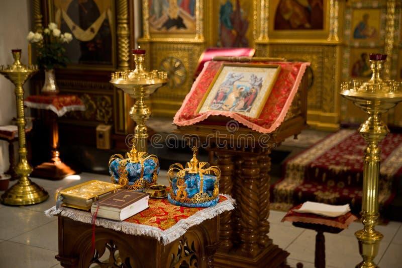 Orthodox Wedding Ceremonial. Two Orthodox Wedding Ceremonial Crowns Ready for Ceremony royalty free stock photos
