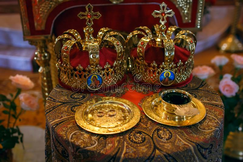 Two Orthodox Wedding Ceremonial Crowns Ready for Ceremony.  royalty free stock photo