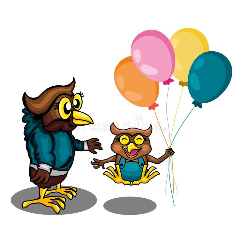 Two Owl Get Play Togather royalty free illustration