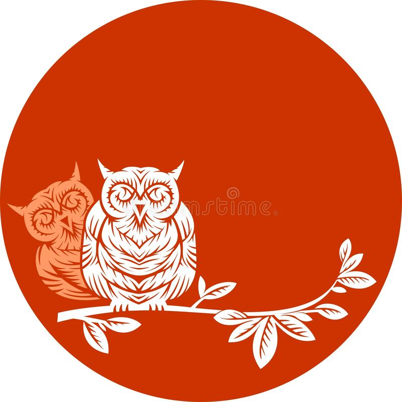 Download Two owls on a branch stock vector. Image of traditional - 24518932