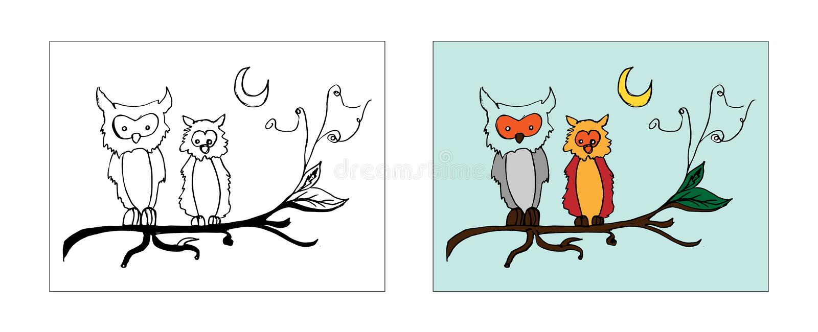 Two owls on branch coloring book design with monochrome and colored versions. Freehand sketch for adult anti stress coloring book stock illustration