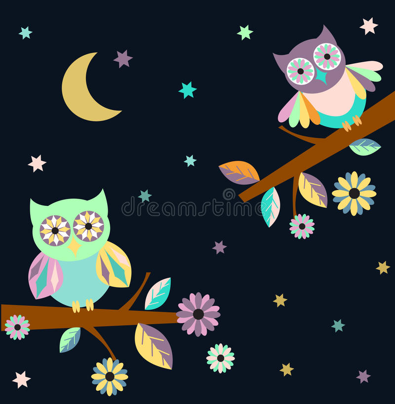 Two owls stock illustration