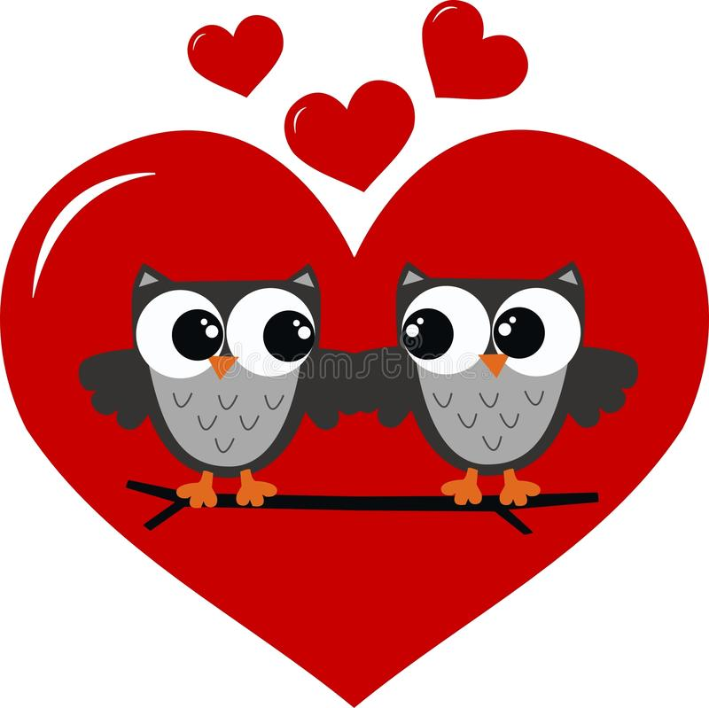 Two Owls In Love Stock Photo