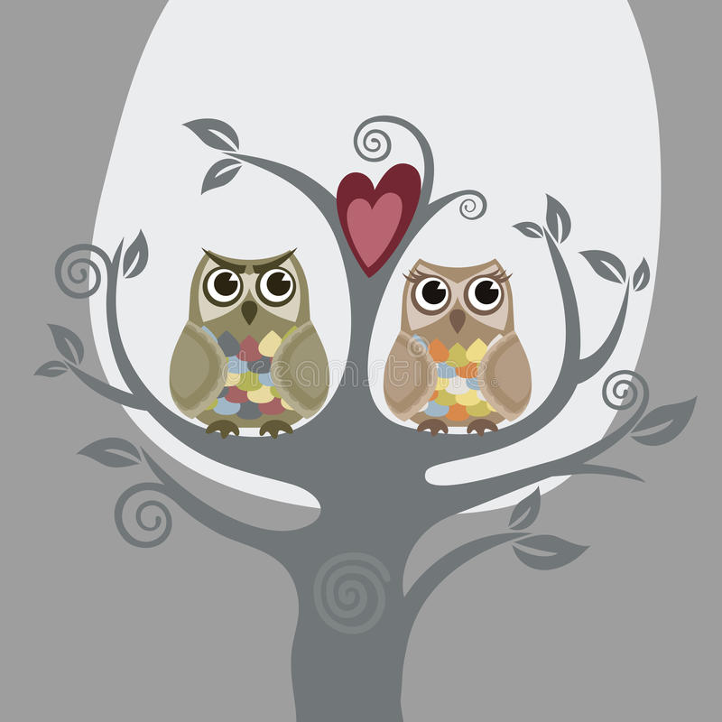 Two owls and love tree. Greeting card. This image is a vector illustration