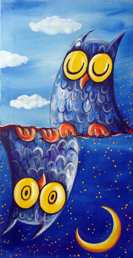Two Owls Night & Day. Two owls above and below a tree branch - From an original painting by Raffaella Di Vaio (acrylic on canvas 60x30 cm stock illustration
