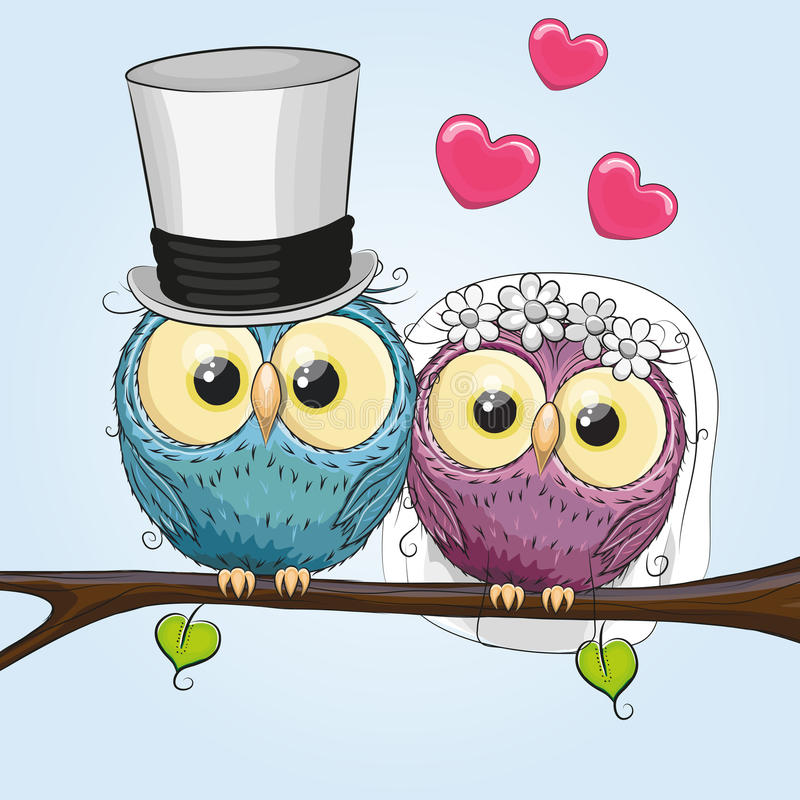 Two Owls. Owl Bride and Owl groom on a brunch