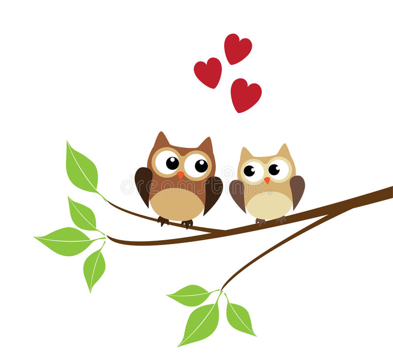 Two Owls On Branch Clip Art Two Owls stock v...