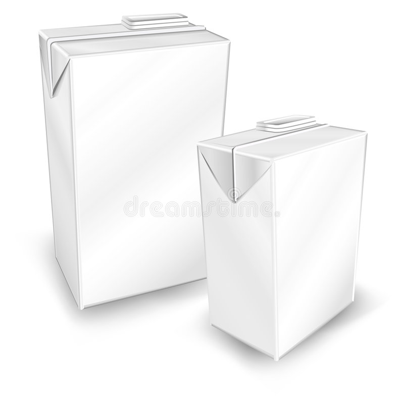 Two package. Milk or juice carton packages isolated on white background, vector illustration royalty free illustration