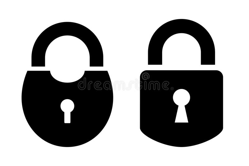 Two padlock vector icon. Isolated on white background royalty free illustration