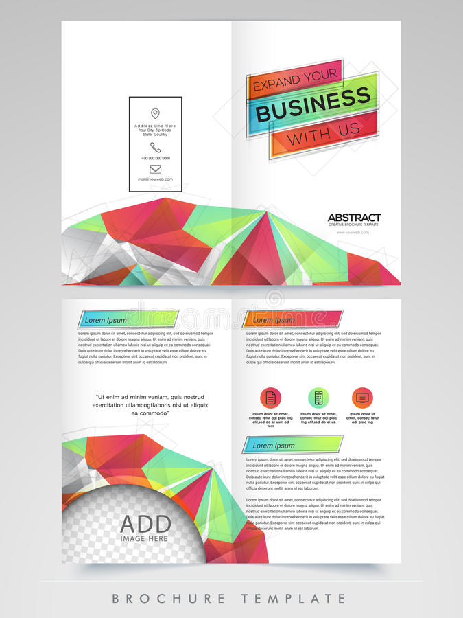 Two Page Brochure Template Or Flyer For Business Stock Image