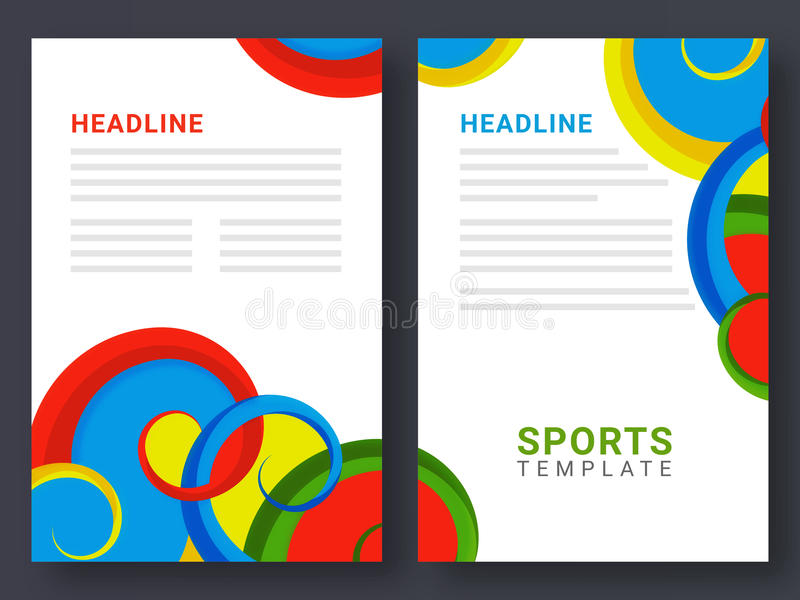 Two page brochure template for sports concept stock for Two page brochure template