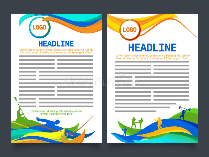 two page brochure template for sports concept stock illustration