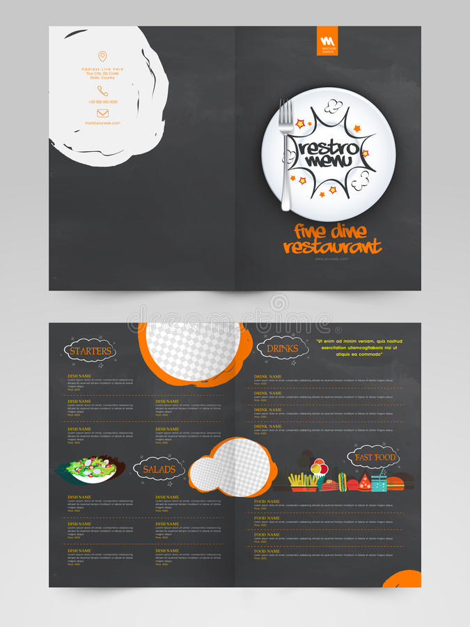 Two page Restaurant Menu card design. Creative Restaurant Menu Card design with front and back page view royalty free illustration