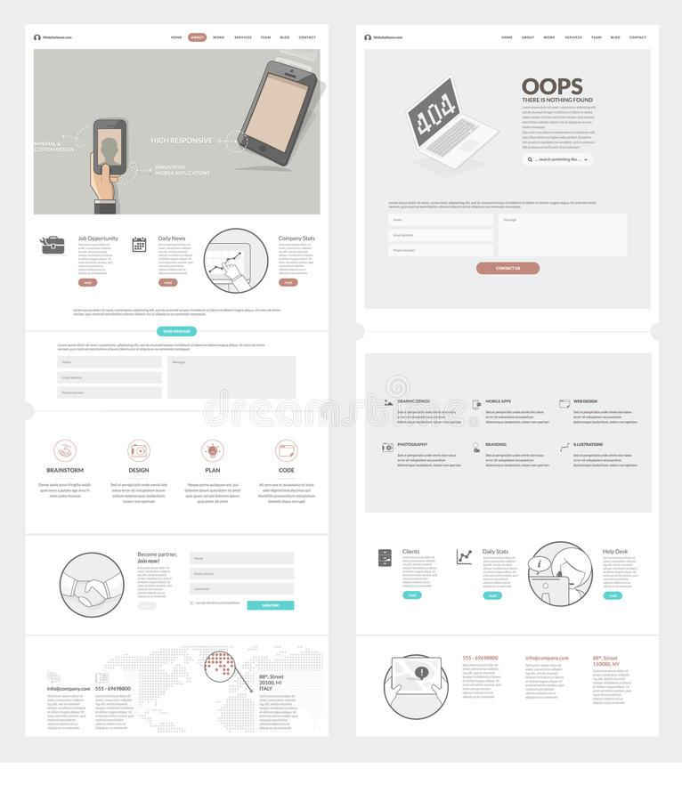 Awesome Download Two Page Website Design Template With Concept Icons And Avatars  For Business Company Portfolio Stock Throughout Company Portfolio Template