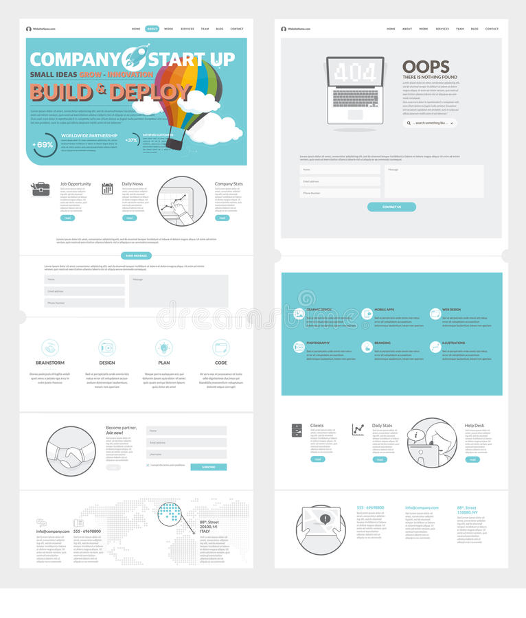 Company Portfolio Template Two Page Website Design Template With Concept Icons And Avatars .