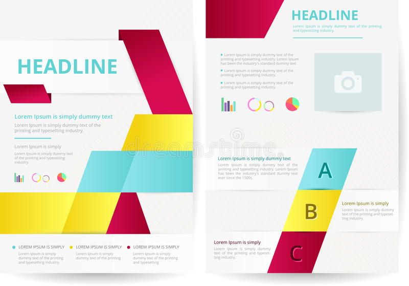 Two pages and flyer background layout design in A4 size, create vector illustration