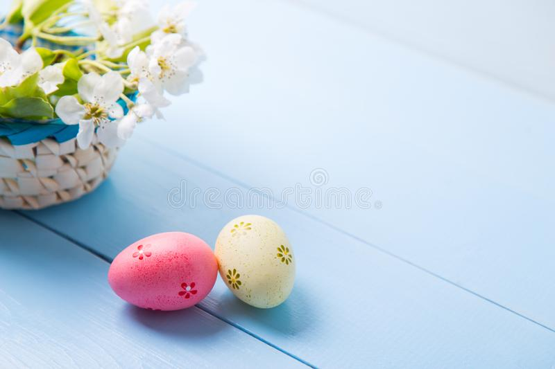 Two painted pink and yellow Easter eggs near basket with white spring flowering branch on light blue background royalty free stock photography
