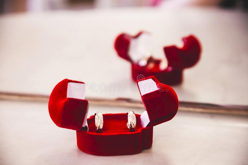 Two pair of wedding gold rings in a red case royalty free stock images