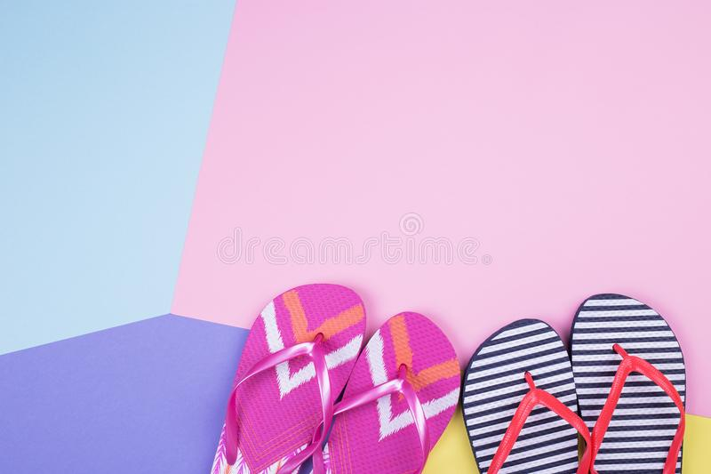 Two pairs of flip flops royalty free stock photography