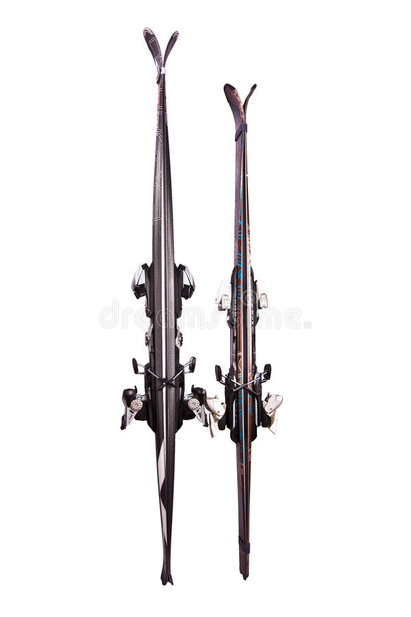 Two pairs the mountain ski, isolated stock photo