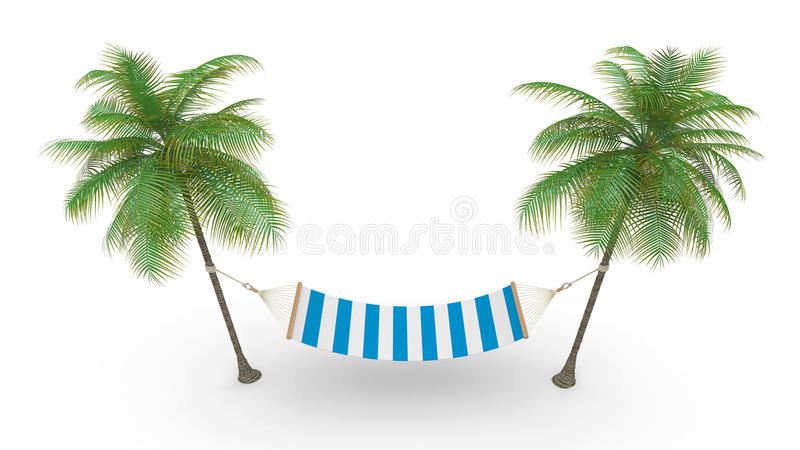 Two palm and hammock vector illustration