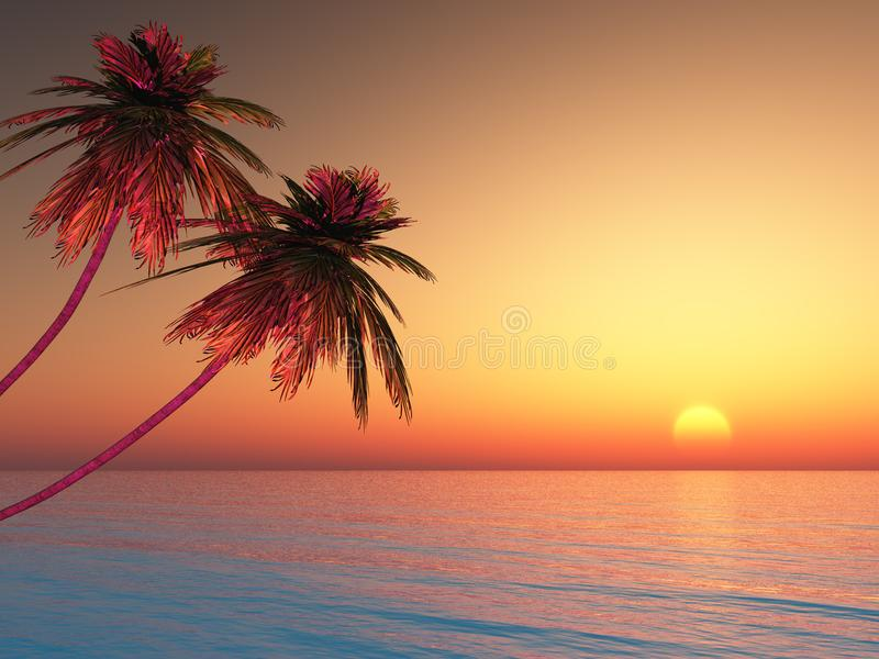 Two palm trees on the beach. royalty free illustration
