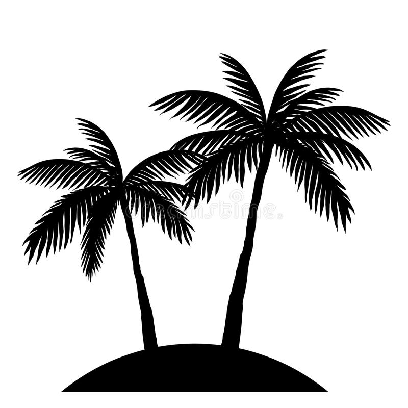 Two palm trees silhouette. Isolated on white background vector illustration