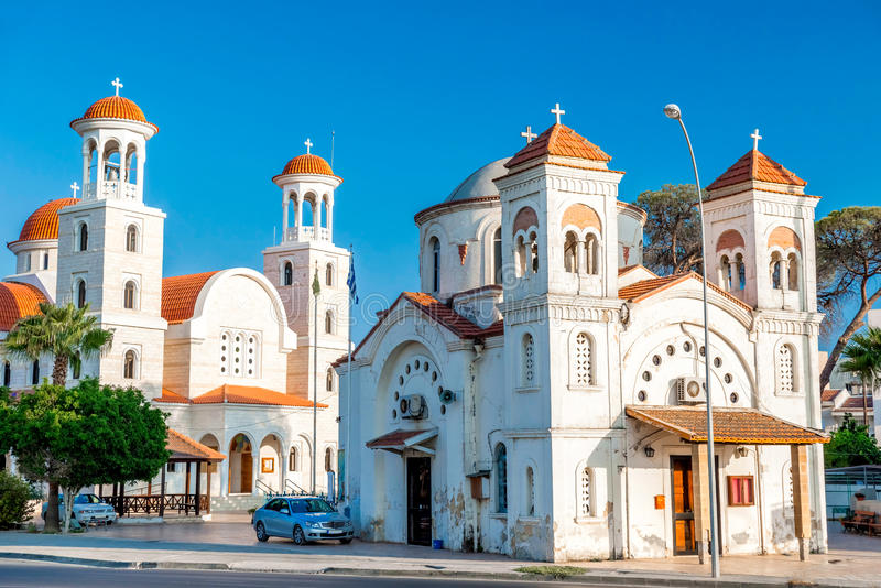 Two Panagia Faneromeni Churches: modern church building and medieval cave church, that is underground two-chambered rock cavern. stock photos