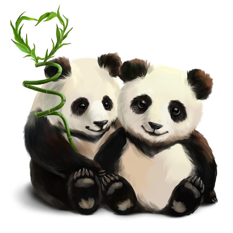 Two pandas and a bamboo branch royalty free illustration
