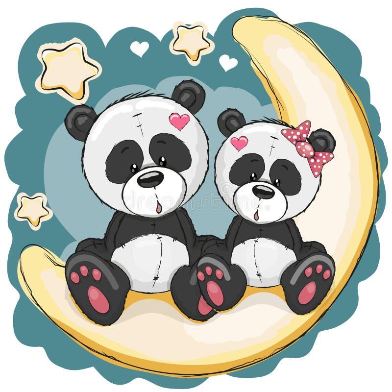 Free Two Pandas On The Moon Royalty Free Stock Photos - 59373408