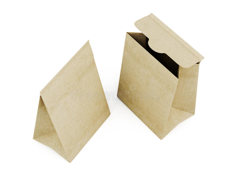 Two paper bag top view isolated on white background. 3d rendering.  stock illustration