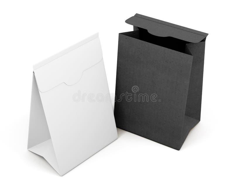 Two paper bag on white background. 3d rendering.  vector illustration