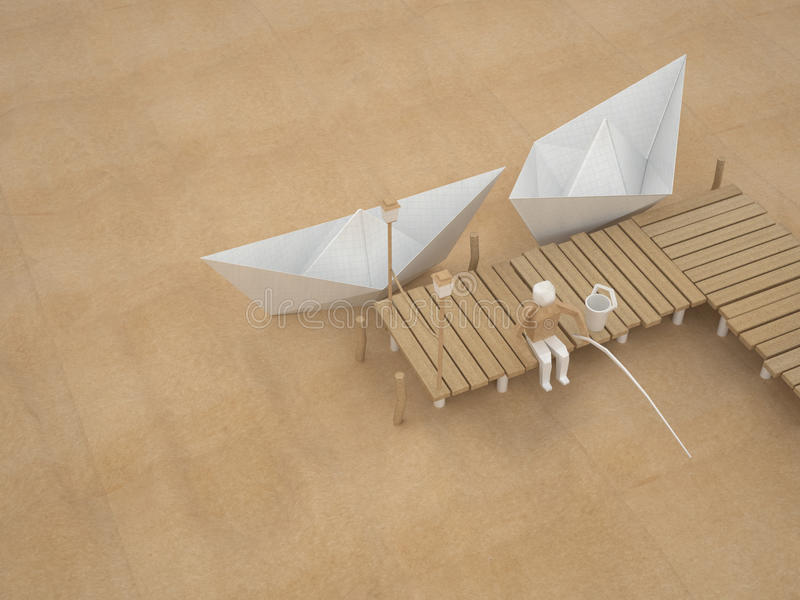 Two paper boats and fisherman