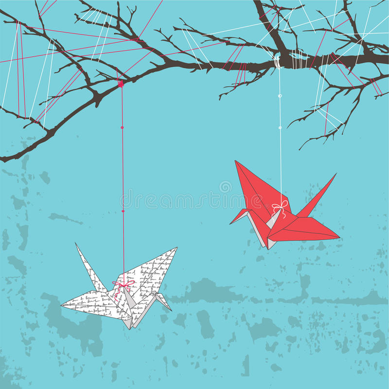 Download Two Paper Cranes Stock Vector Illustration Of Tree Branch