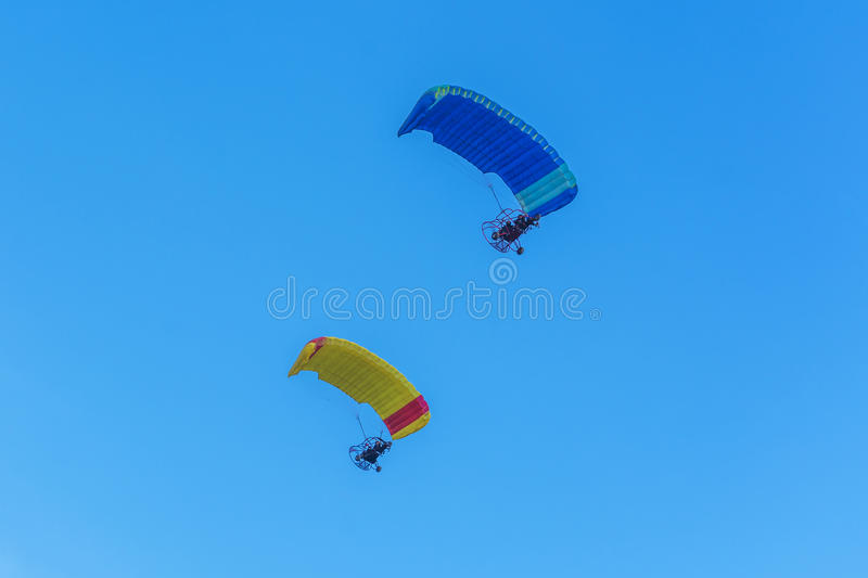 Two para motor glider flying stock photo