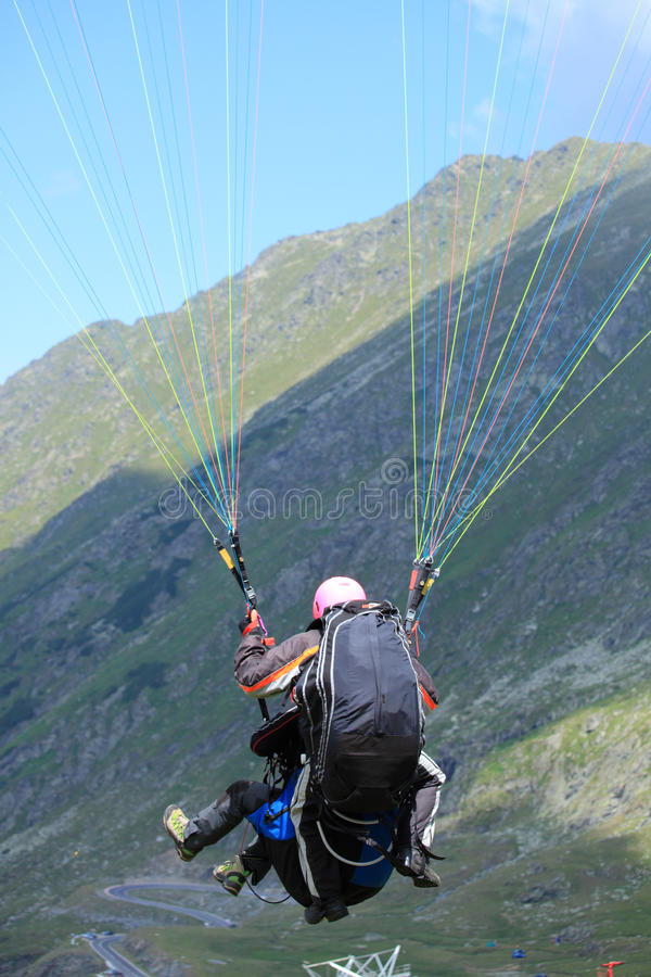 Two paragliders stock photo