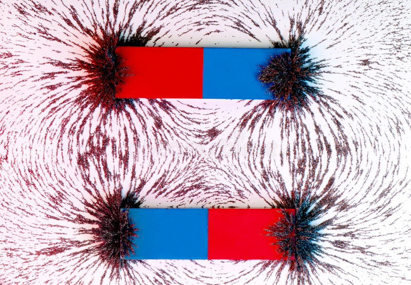 Two parallel bar magnets and the magnetic field royalty free stock photography