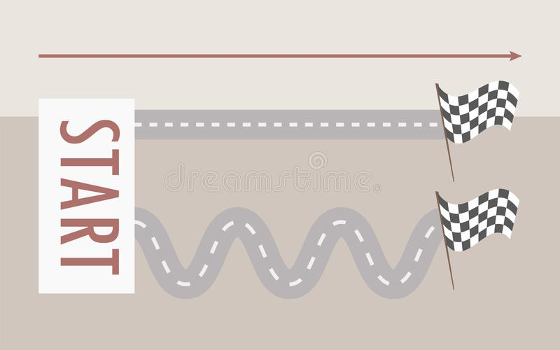 Two parallel roads straight and winding from left to right from the signboard start to the finish flag on a light gray background vector illustration