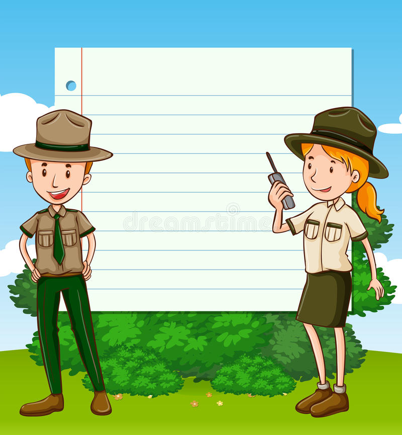 Two park rangers and paper template vector illustration