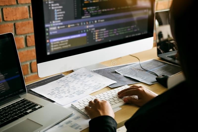Two partnerships developing programming and coding technologies working on laptop and analyzing together royalty free stock image