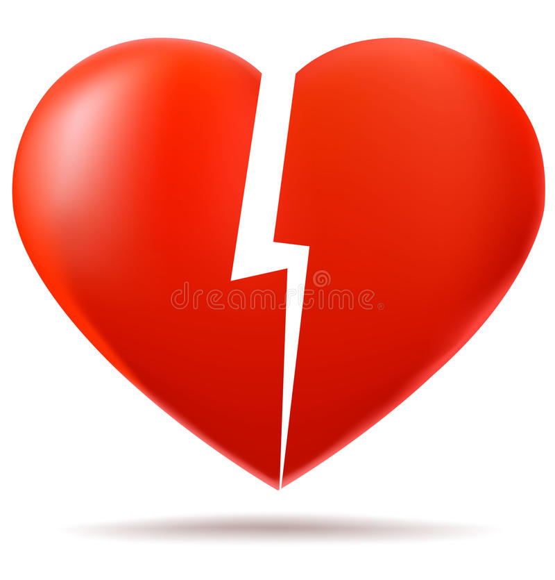 Two parts of broken heart. Lost love concept stock illustration