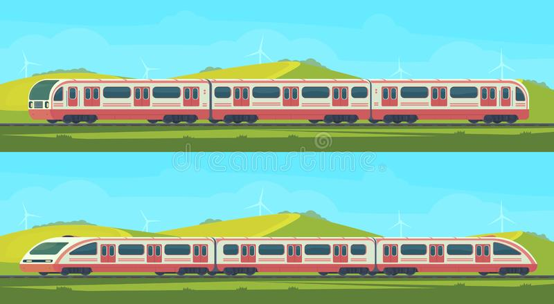 Two passanger modern electric high-speed train with nature landscape in a hilly area. Vector illustation. Railway royalty free illustration