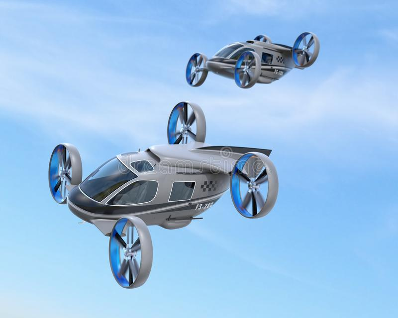 Two Passenger Drone Taxis flying in the sky. 3D rendering image royalty free illustration