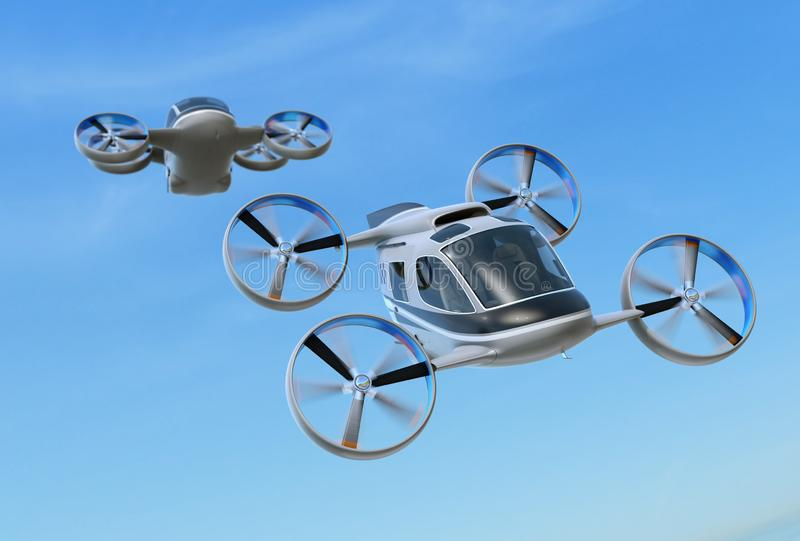Two Passenger Drone Taxis flying in the sky stock illustration
