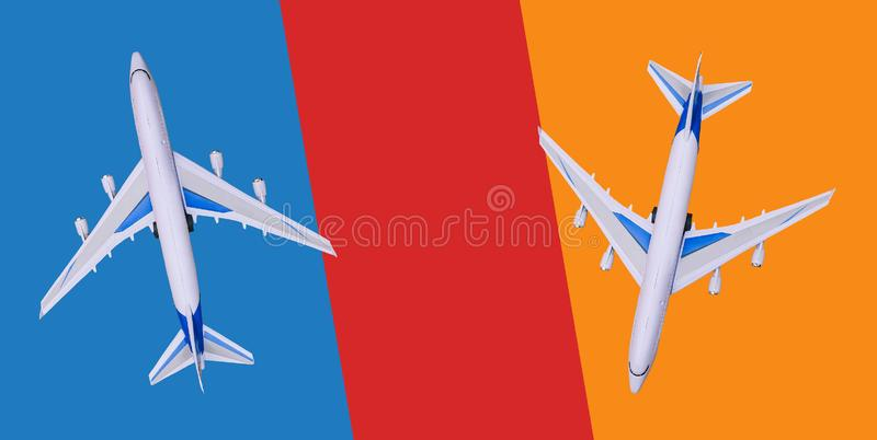 Two passenger planes fly in different directions. Sale and booking of tickets, tourist vouchers, tours. Hot tours. Copy stock images