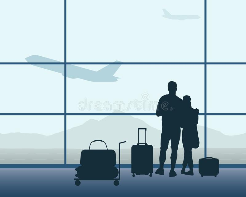 Two passengers with luggage standing in an airport hall with a f royalty free illustration
