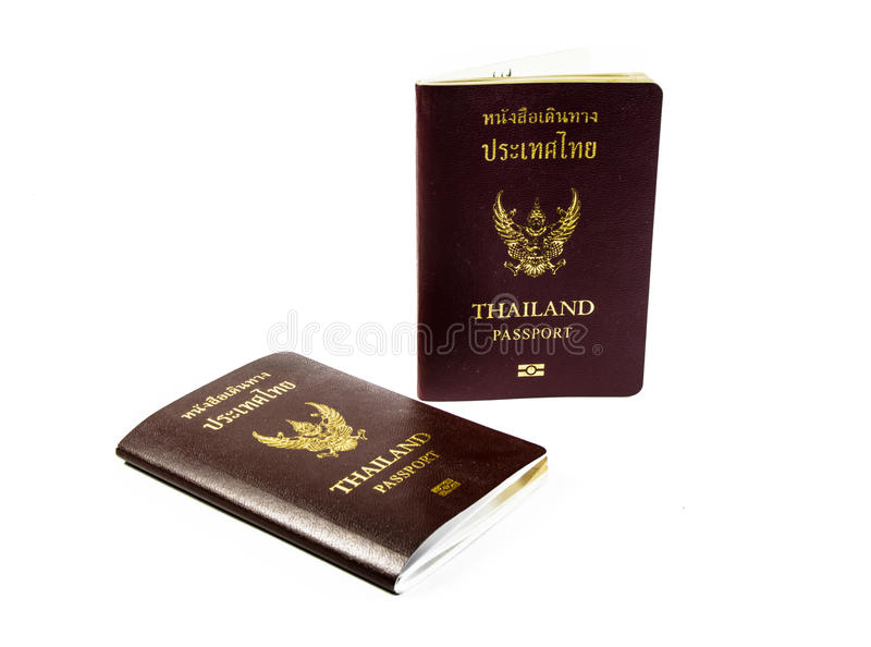 Two passport book of thailand isolated. On white backgrounds royalty free stock photography