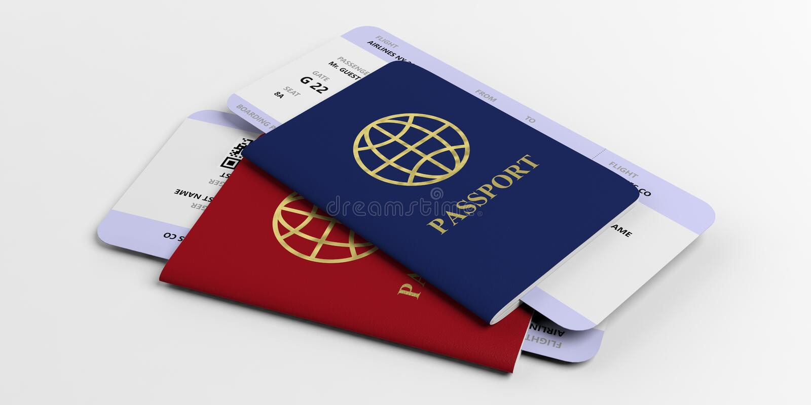 Two passports and airplane tickets isolated on white background. 3d illustration royalty free illustration